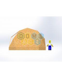 Комплект купола №02: 2V D7м 1/2ч 0.5м каркас купола и райзера (геодезический гудкарма) и внешняя обшивка